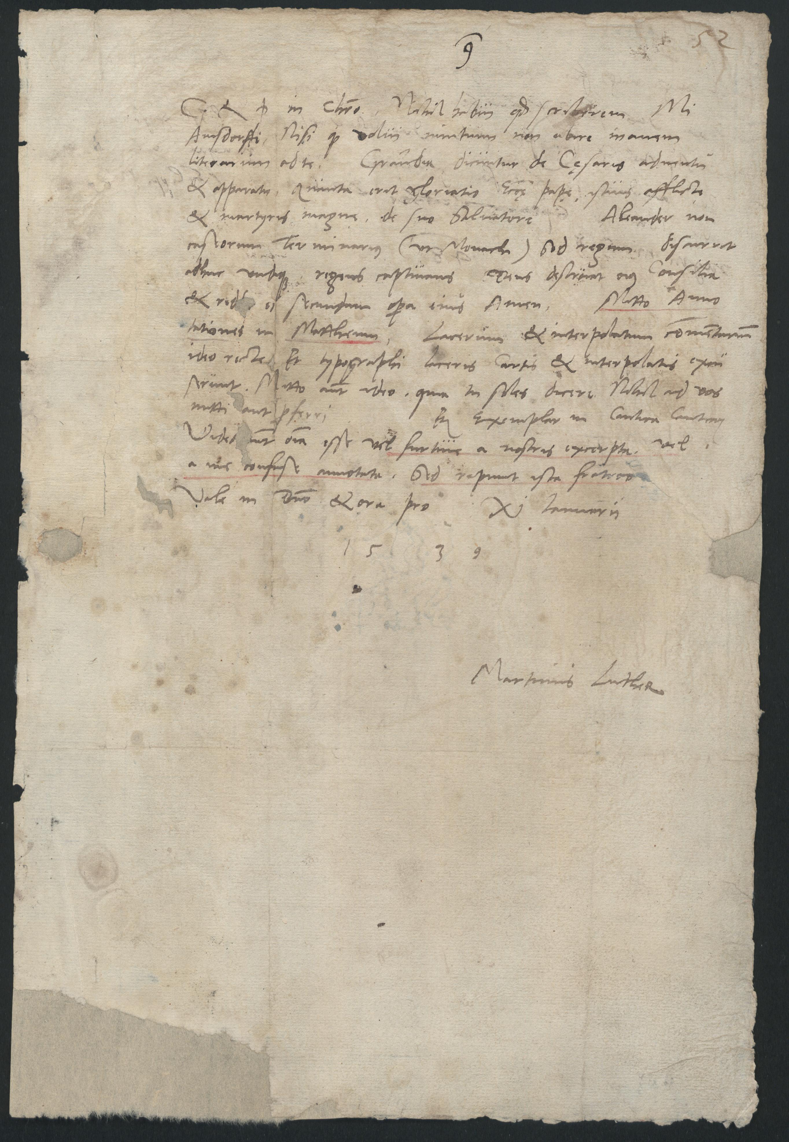 Brief Martin Luthers An Nikolaus Von Amsdorf 11 Januar 1539 95